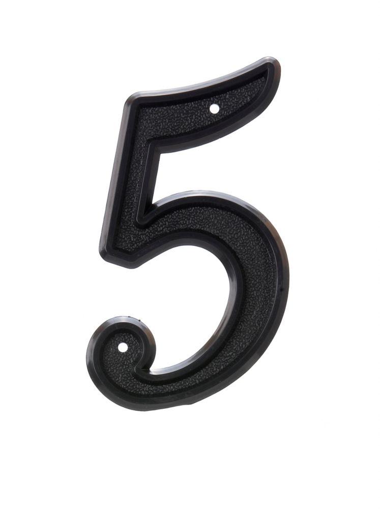 Numéro D'adresse 6 Po, Plastique Noir, 5