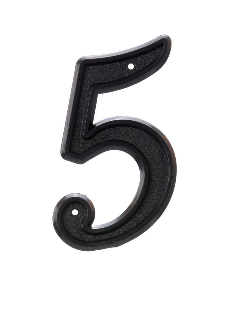 6 Inch Black Plastic House Number 5
