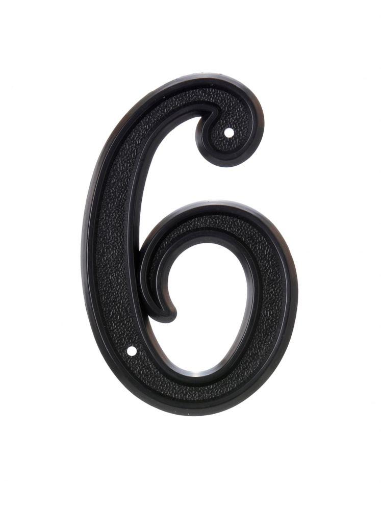 Numéro D'adresse 6 Po, Plastique Noir, 6