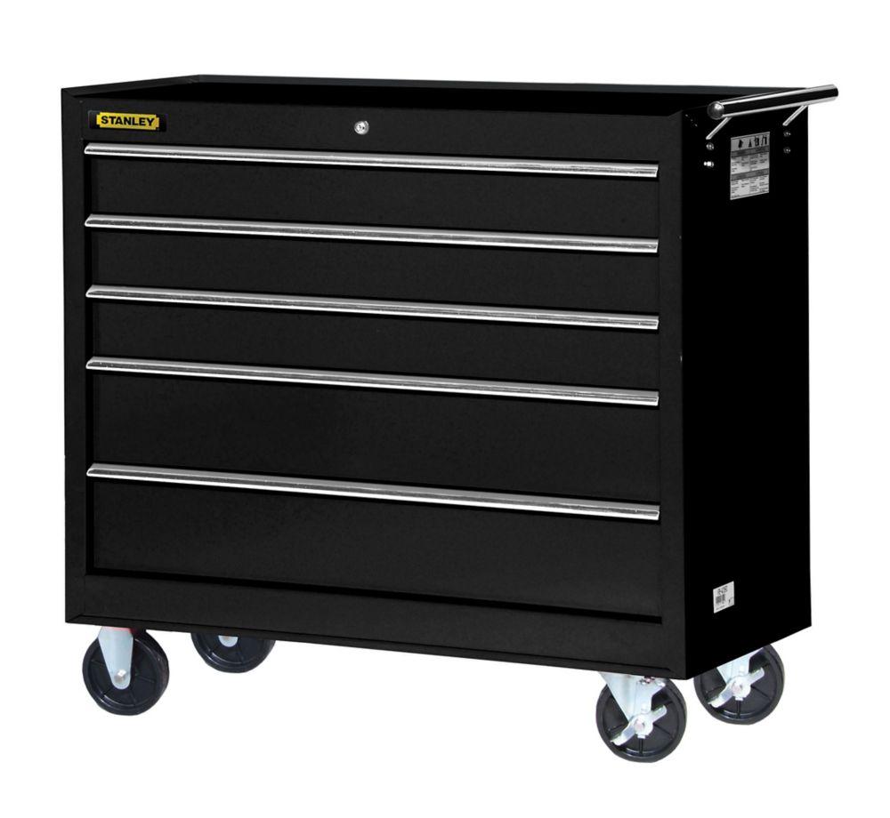 Armoire à 5 tiroirs, 42 po, noir