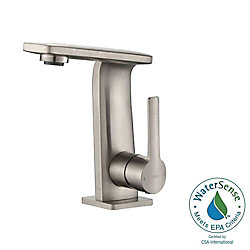 Kraus Novus Single Hole 1-Handle Mid Arc Bathroom Faucet in Brushed Nickel with Lever Handle