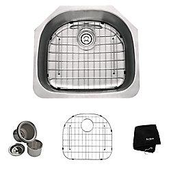 Kraus Évier de cuisine sous comptoir en acier inoxydable calibre 16 de 58,420cm (23 po) à cuve unique