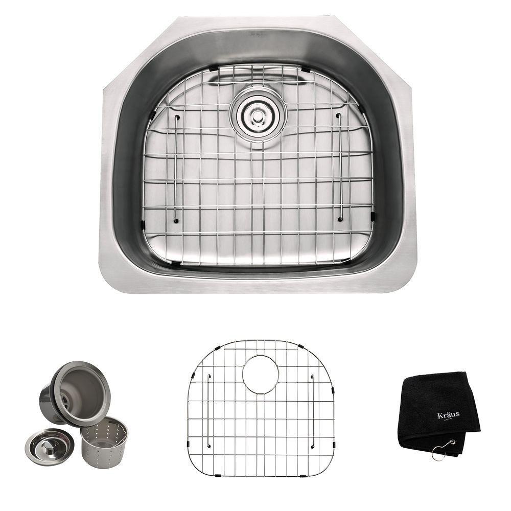 23 In. Undermount Single Bowl 16 gauge Stainless Steel Kitchen Sink