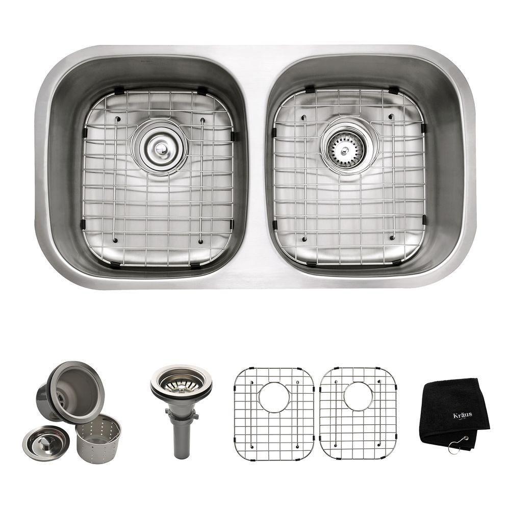 Undermount Stainless Steel 32-inch 50/50 Double Bowl Kitchen Sink Kit