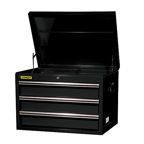 27 Inch 3 Drawer Deep Top Chest, Black
