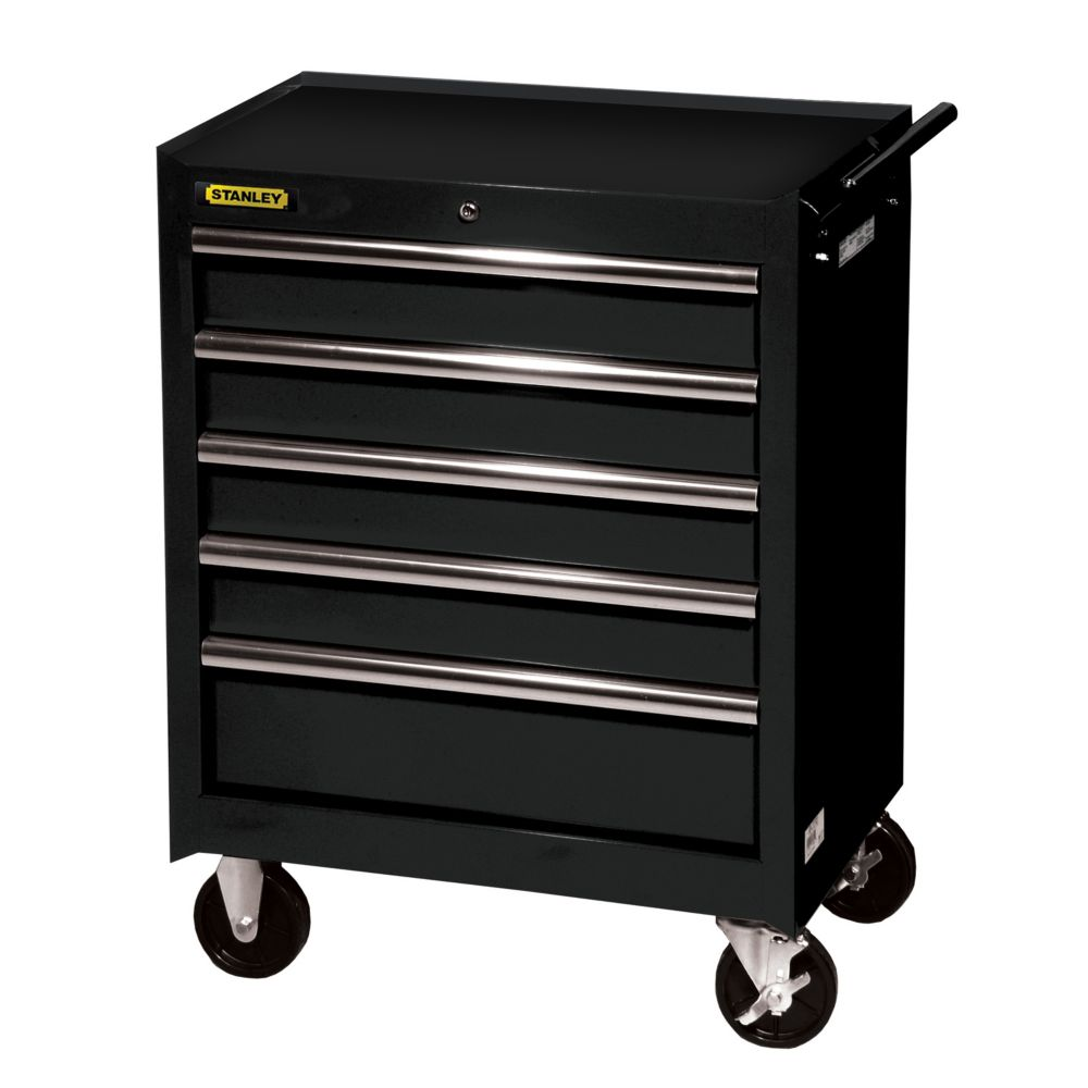 Stanley 27 Inch 5 drawer Cabinet, Black | The Home Depot ...