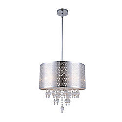 Canarm Ltd. Piera 16-inch x 24-inch x 66-inch 4-Light Chandelier in Chrome with Crystal Drops