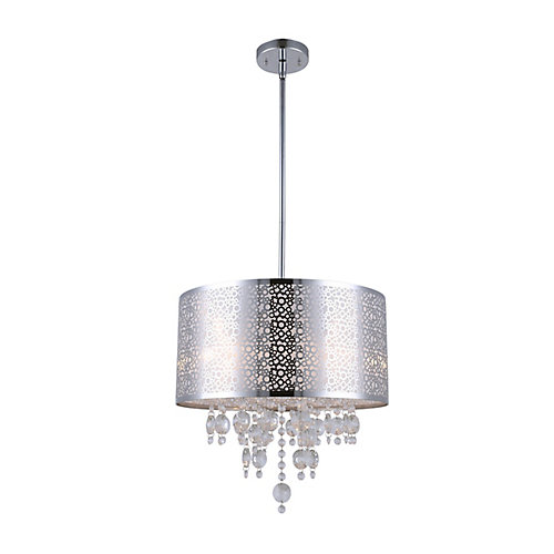 Piera 16-inch x 24-inch x 66-inch 4-Light Chandelier in Chrome with Crystal Drops