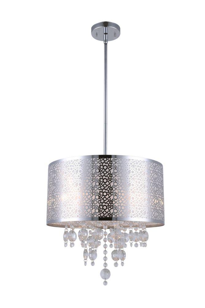 PIERA quatre lumière lustre en chrome avec des gouttes de cristal