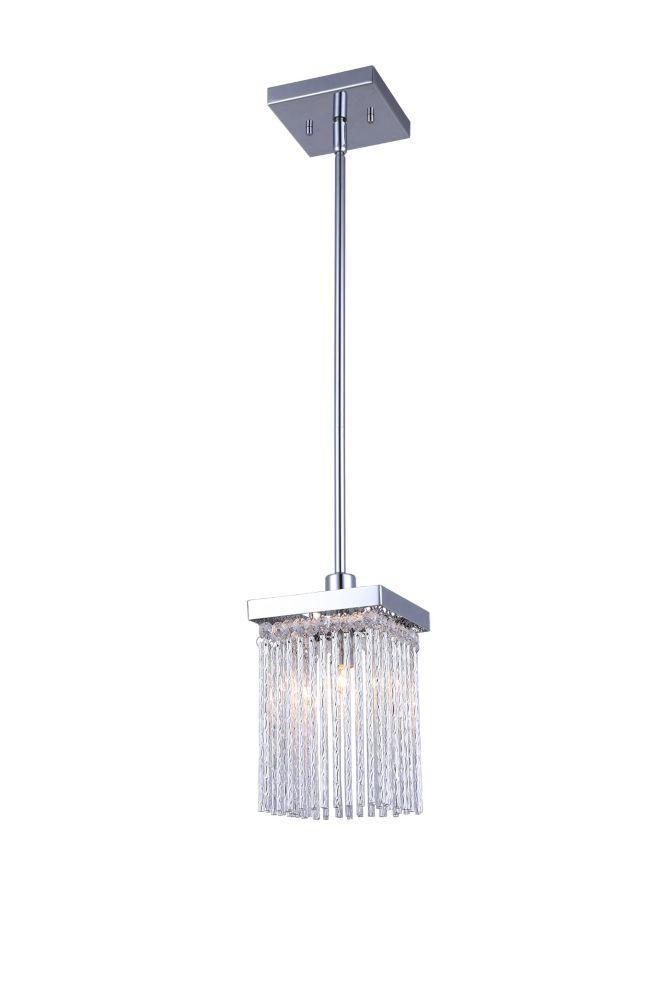 ARLO une lumière chrome avec de l'aluminium et pendentif en cristal