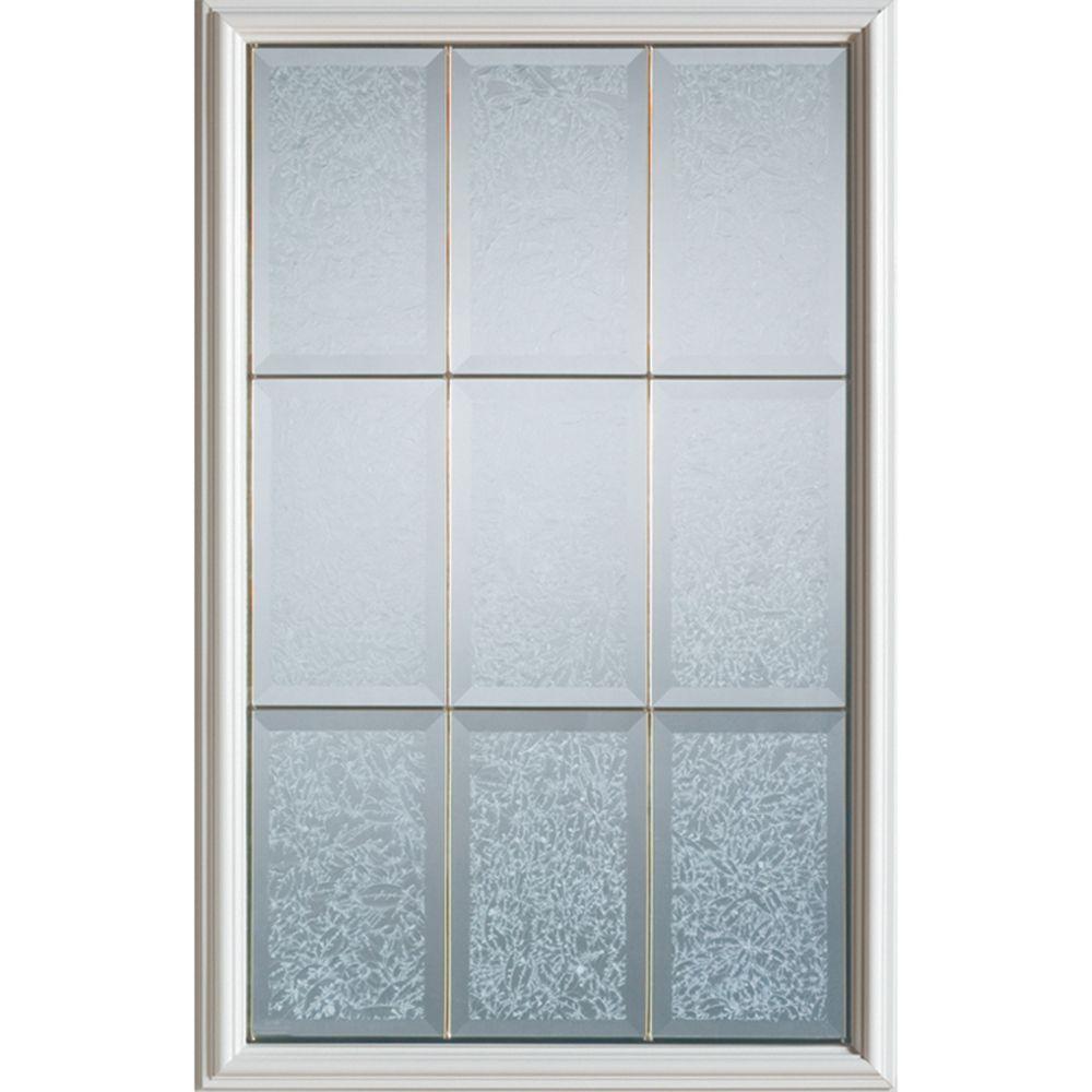 Stanley Doors 23 inch x 37 inch Diana Brass Caming 1/2 Lite Decorative Glass Insert - ENERGY STAR®