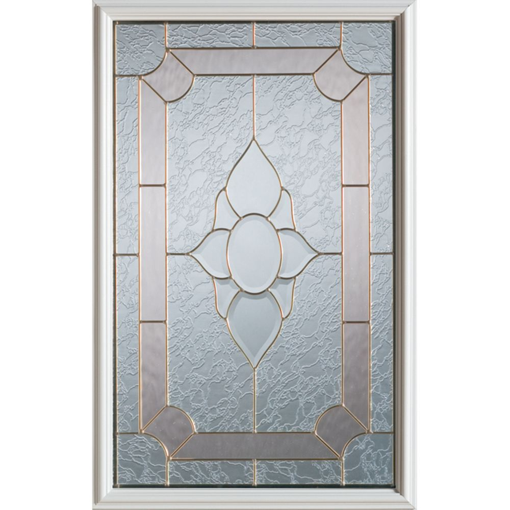 Stanley Doors 23 inch x 37 inch Rochelle Brass Caming 1/2 Lite Decorative Glass Insert