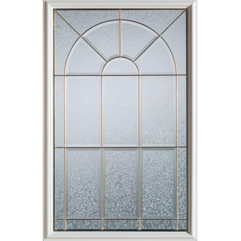 Geometric 1/2-Lite Decorative Glass Door with Brass Caming
