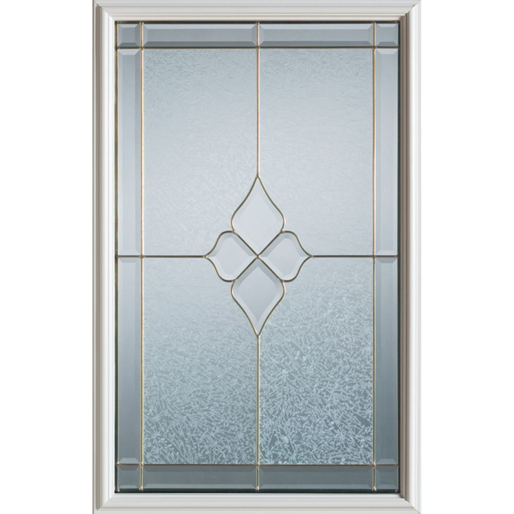 Stanley Doors 23 inch x 37 inch Beatrice Brass Caming 1/2 Lite Decorative Glass Insert
