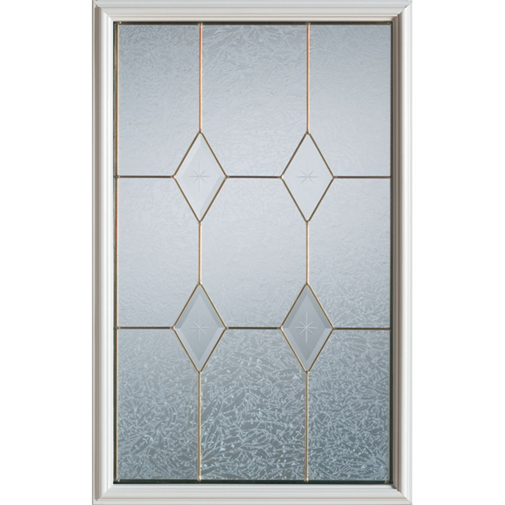Geometric 1/2-Lite Decorative Glass Door with Brass Caming