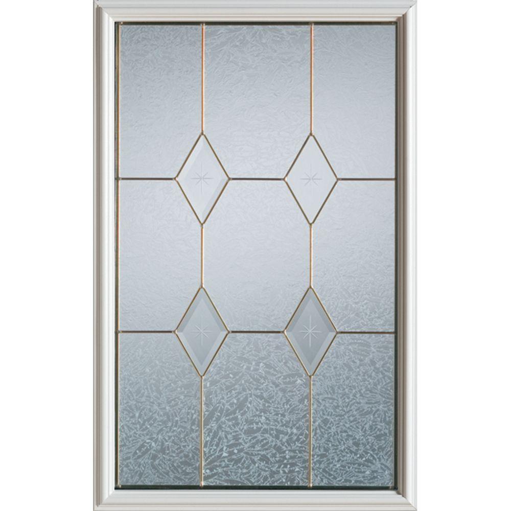 23 inch x 37 inch Tulip Zinc Caming 1/2 Lite Decorative Glass Insert