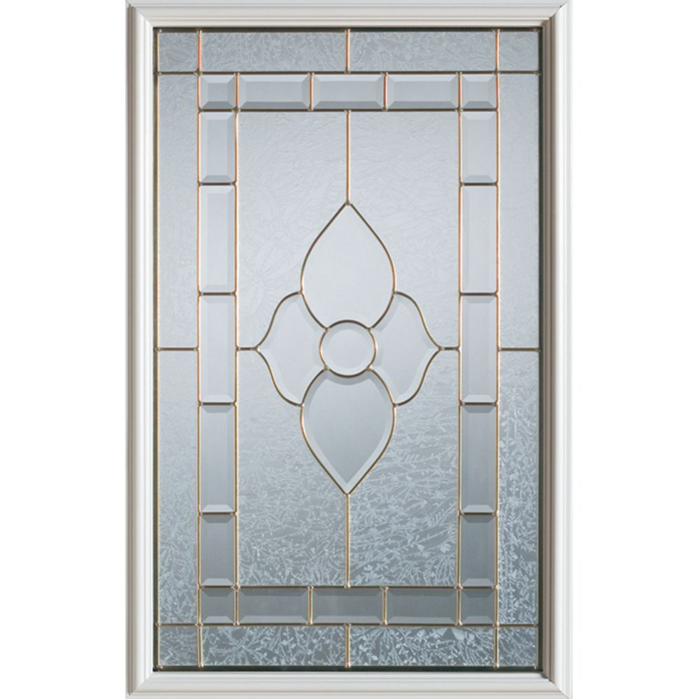 Stanley Doors 23 inch x 37 inch Marguerite Brass Caming 1/2 Lite Decorative Glass Insert
