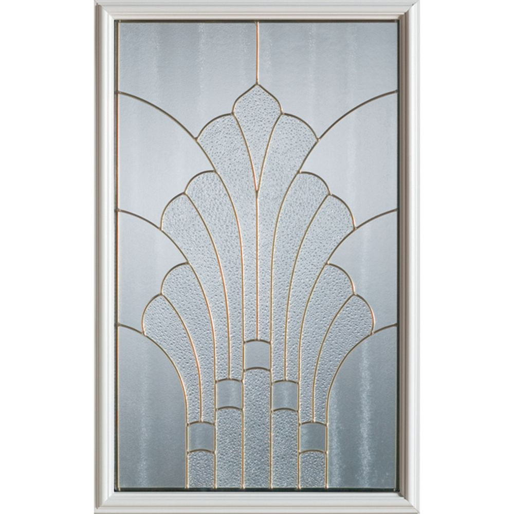 Art Deco 1/2-Lite Decorative Glass Door with Brass Caming