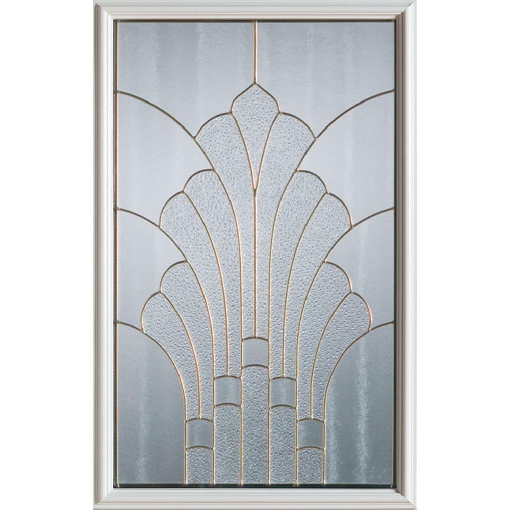 Art Deco 1/2-Lite Decorative Glass Door with Patina Caming