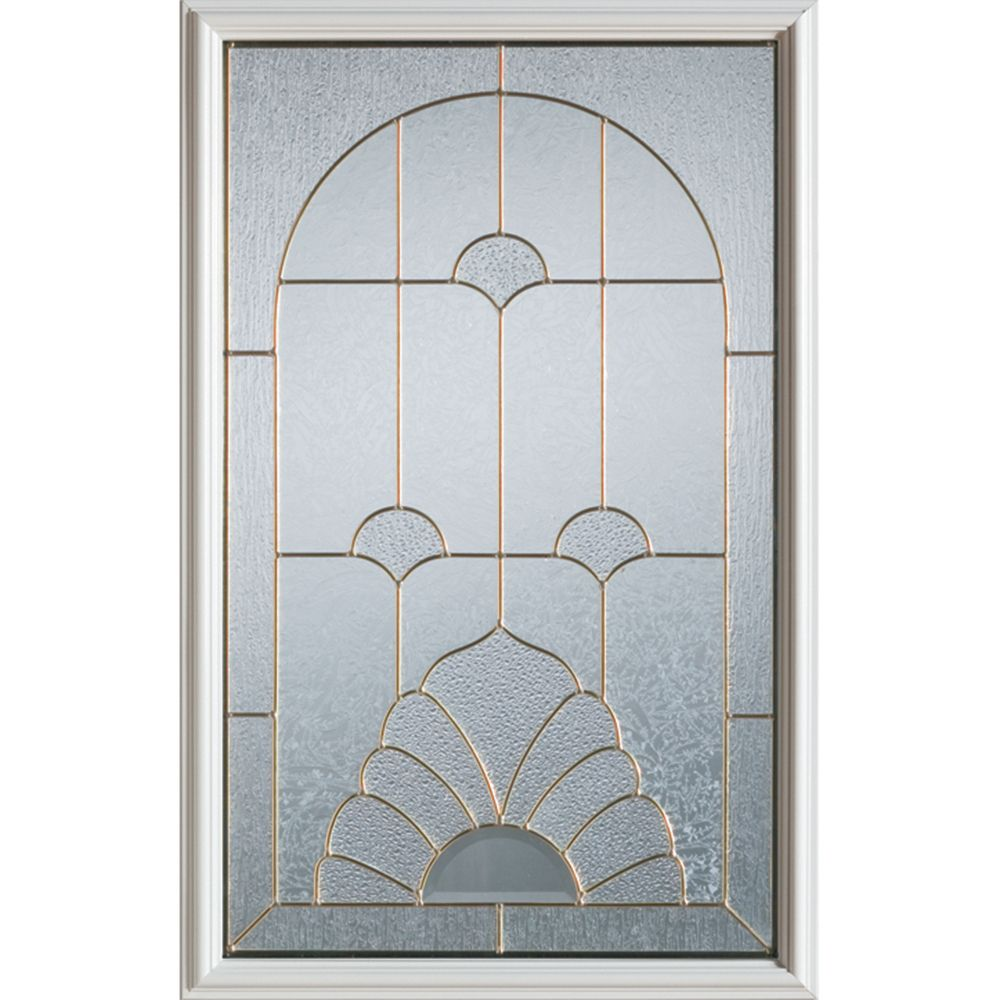 Stanley Doors 23 inch x 37 inch Florentine Brass Caming 1/2 Lite Decorative Glass Insert