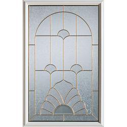 STANLEY Doors 23 inch x 37 inch Florentine Brass Caming 1/2 Lite Decorative Glass Insert