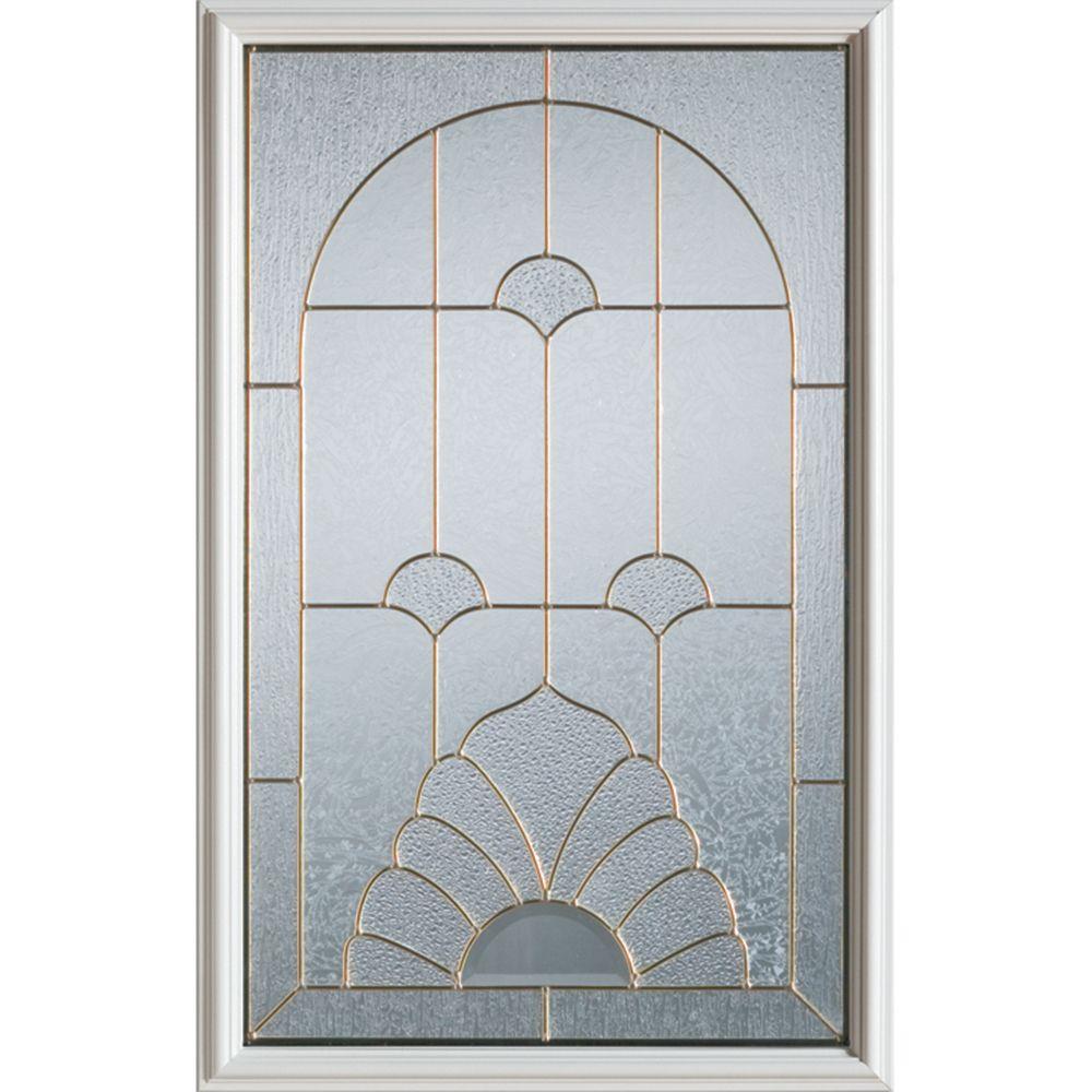 Stanley Doors 23 inch x 37 inch Florentine Zinc Caming 1/2 Lite Decorative Glass Insert