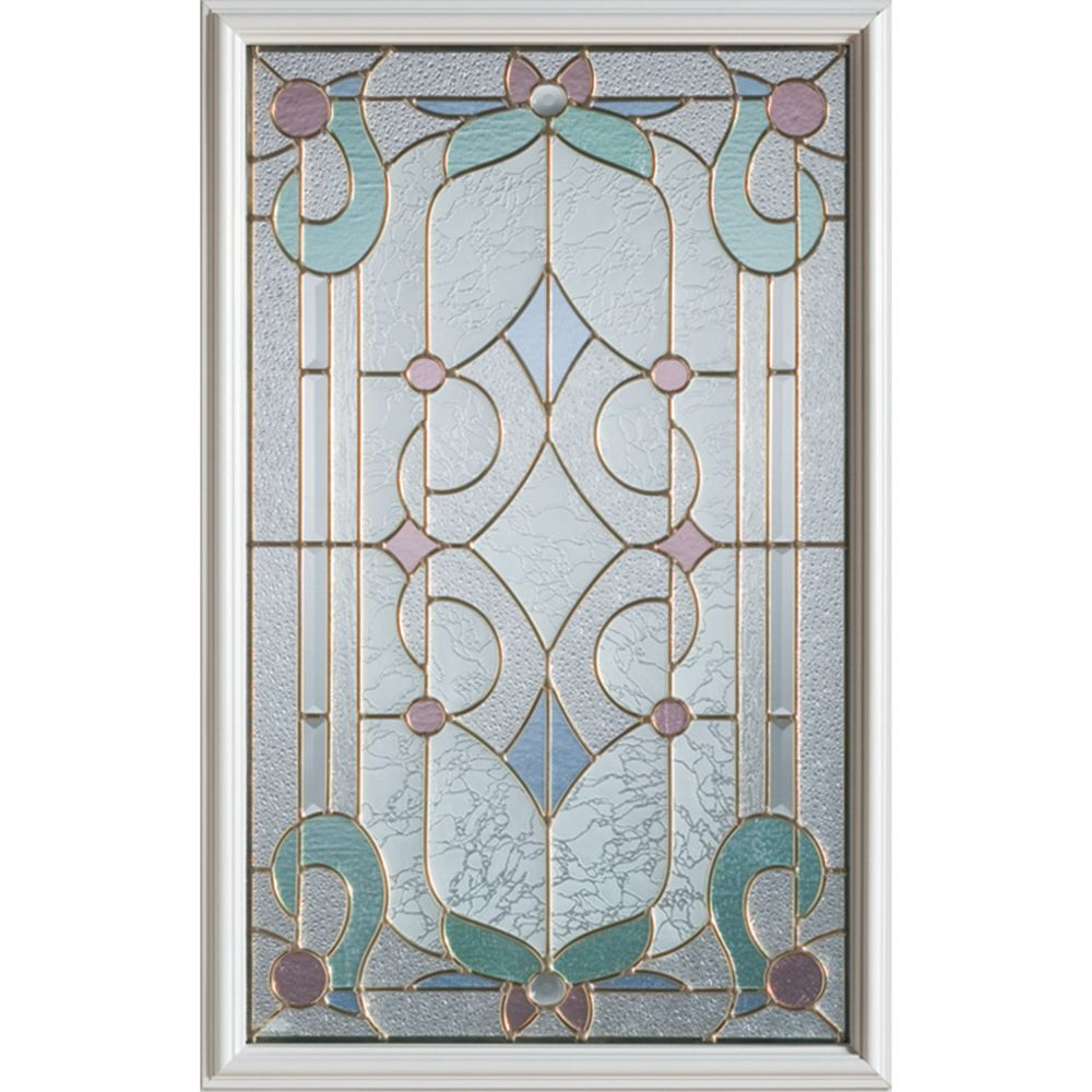 Art Deco 1/2-Lite Decorative Glass Door with Brass Caming