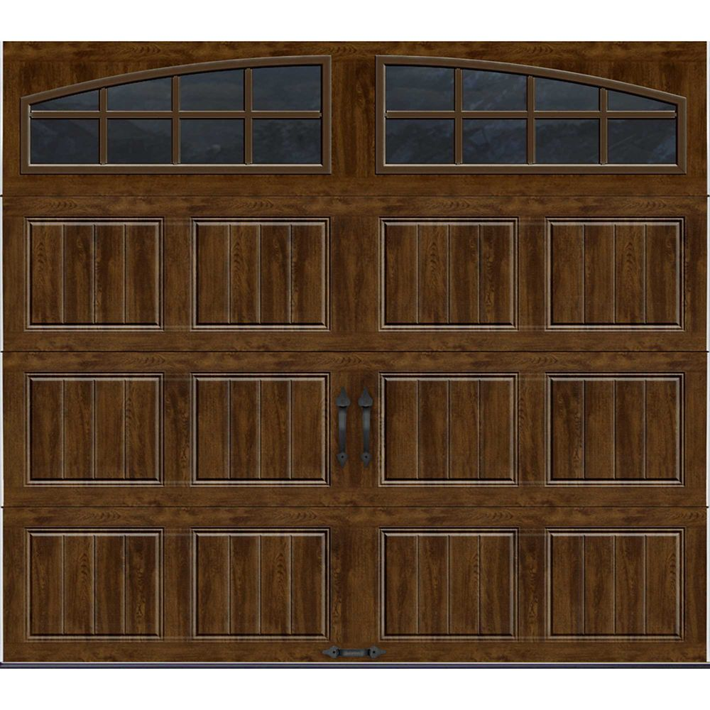Gallery Collection 8 ft. x 7 ft. Intellicore Insulated Walnut Garage Door with Arch Window