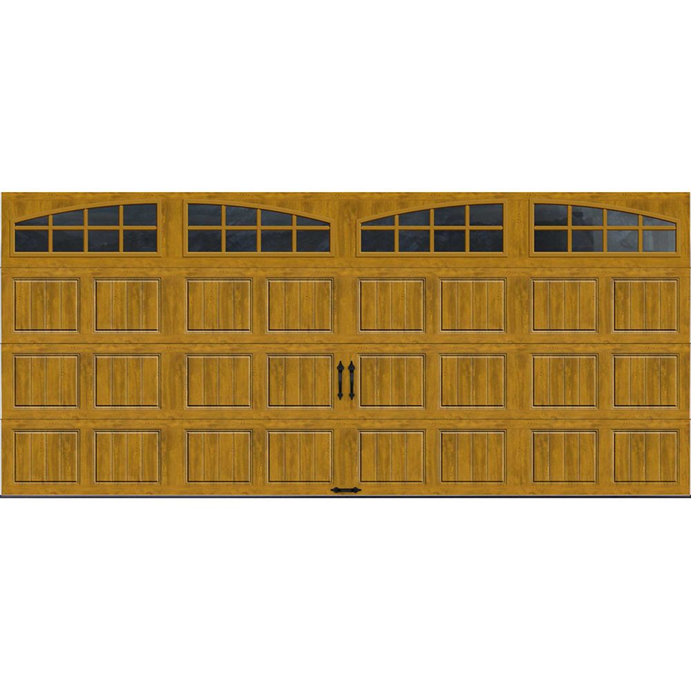 Gallery Collection 16 ft. x 7 ft. Intellicore Insulated Medium Garage Door with Arch Window
