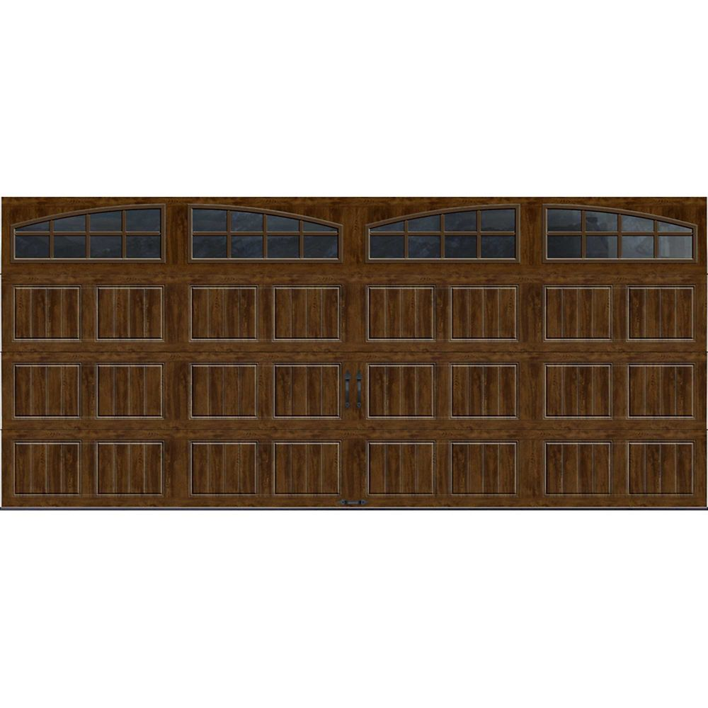 Gallery Collection 16 ft. x 7 ft. Intellicore Insulated Walnut Garage Door with Arch Window