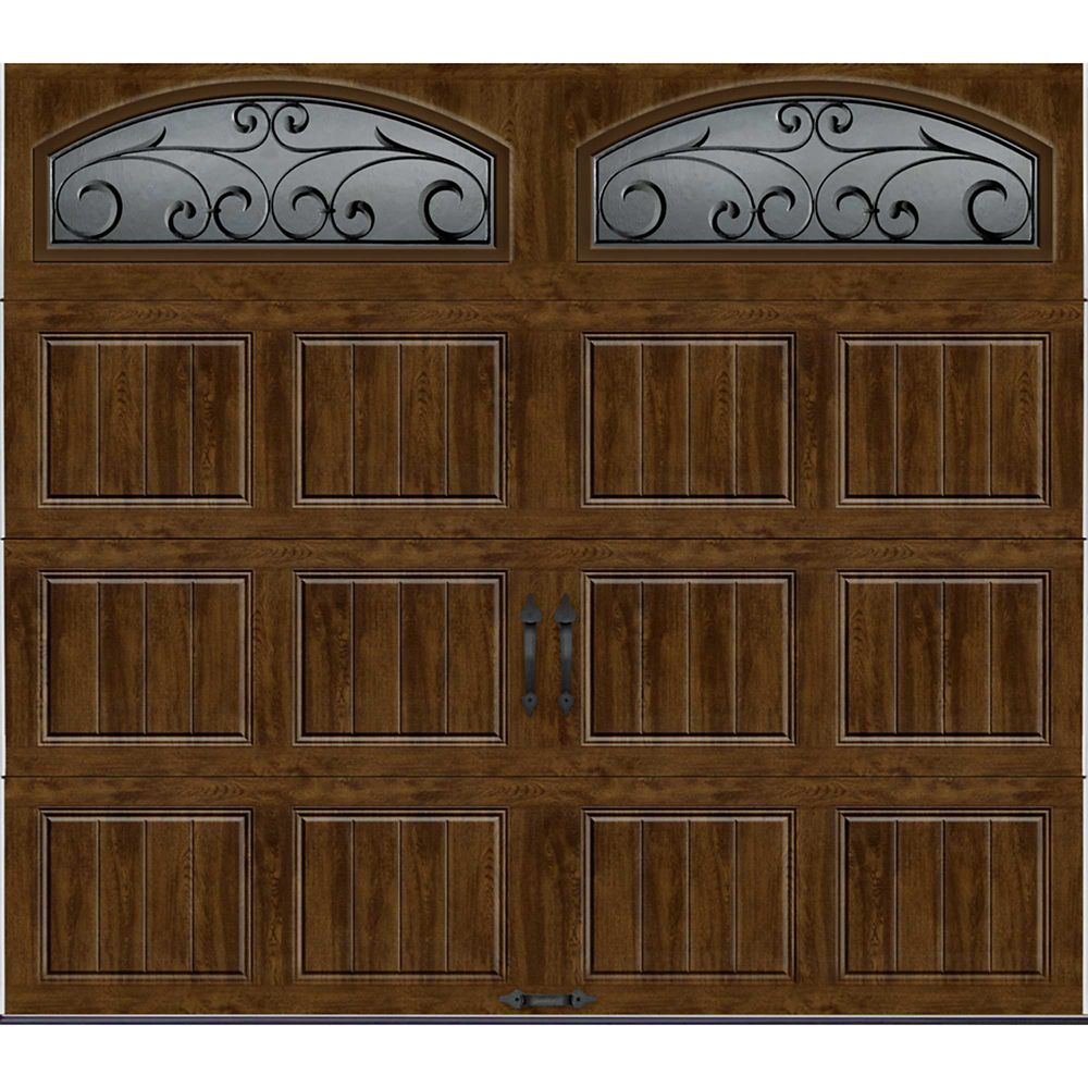 Gallery Collection 8 ft.x7 ft. Intellicore Insulated Walnut Garage Door with Decorative Window