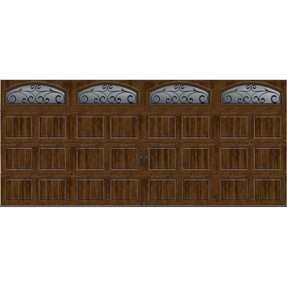 Gallery Collection 16 ft. x 7 ft. Intellicore Insulated Walnut Garage Door with Windows