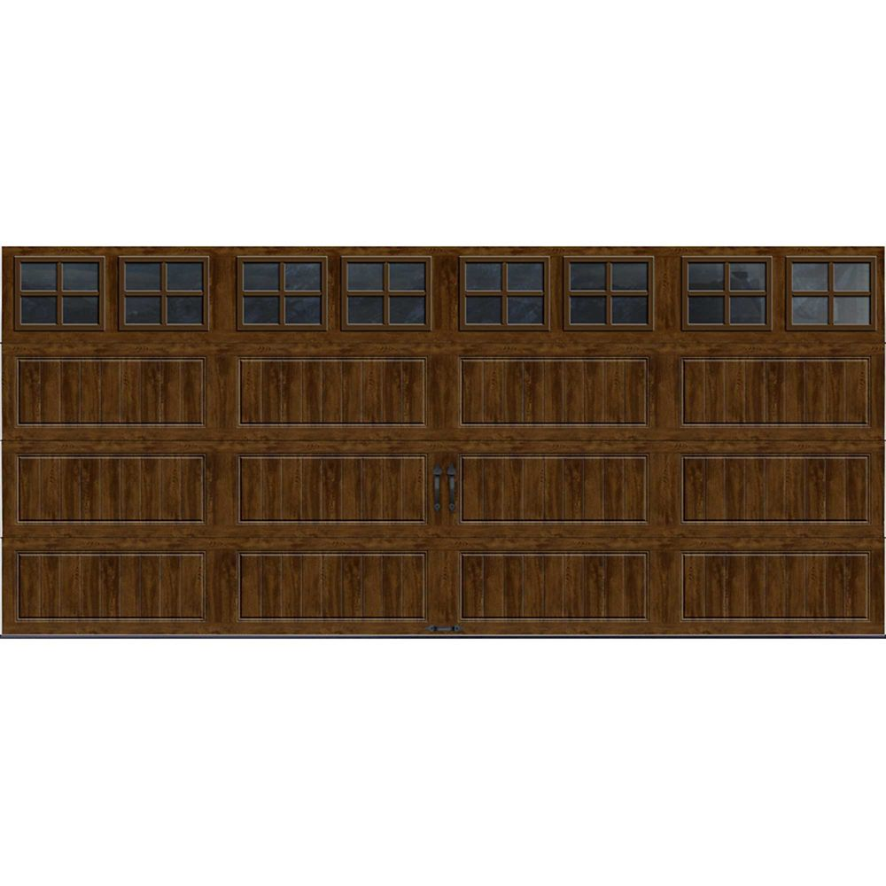 Gallery Collection 16 ft. x 7 ft. Intellicore Insulated Walnut Garage Door with SQ22 Window