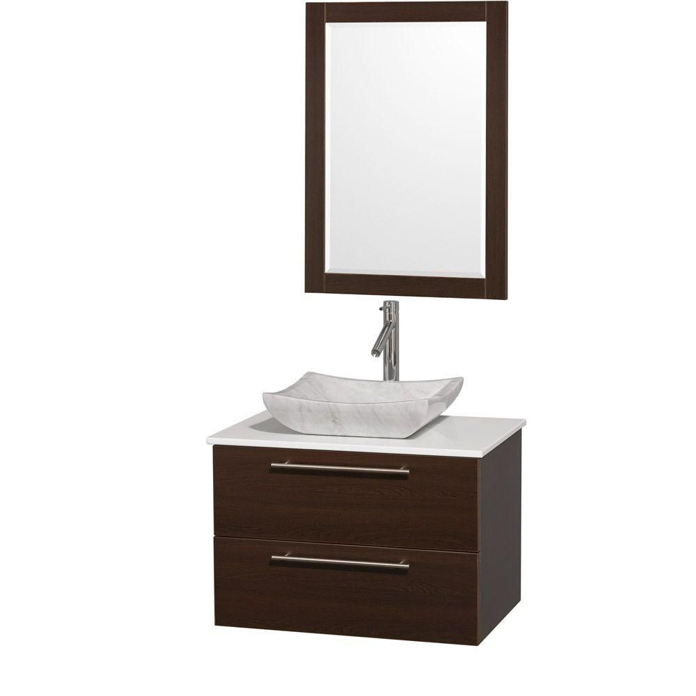 Amare 30-inch W Vanity in Espresso Finish with Stone Top in White and Carrara Marble Sink