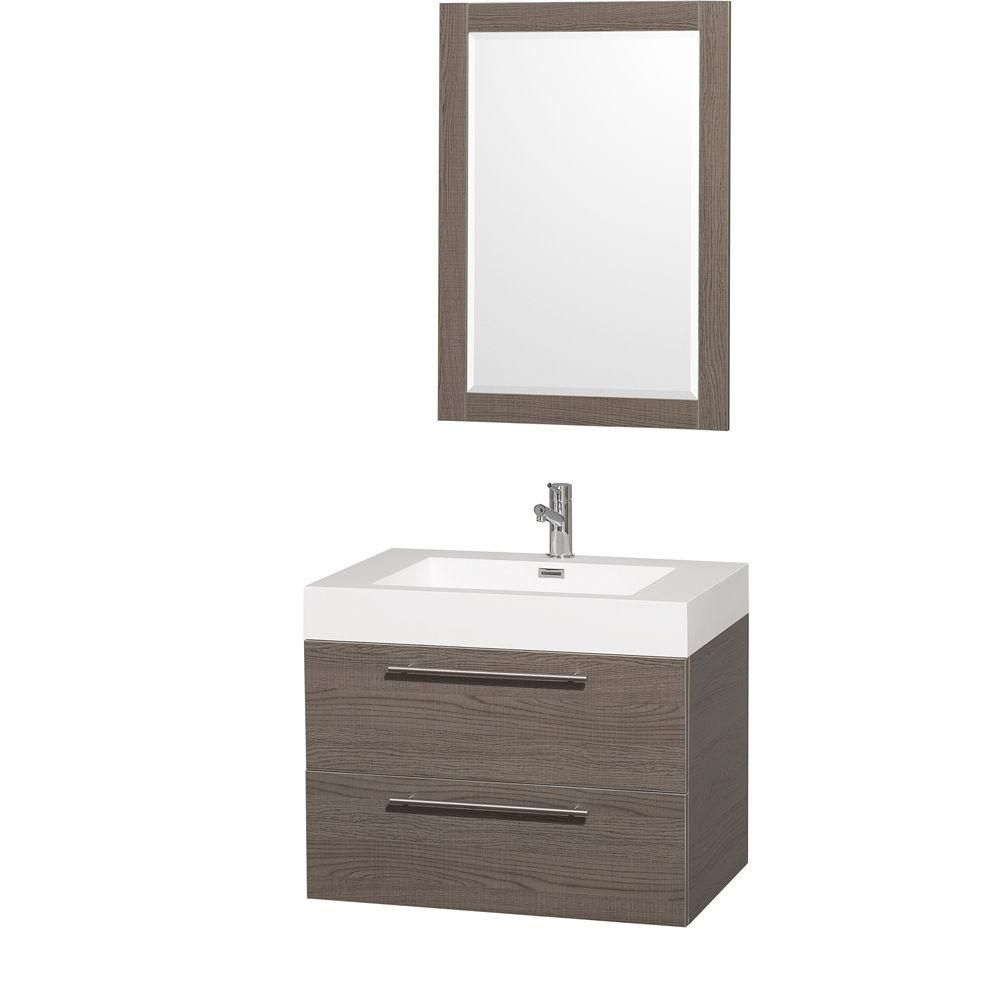 Wyndham Collection Amare 30-inch W 2-Drawer Wall Mounted Vanity in Grey With Acrylic Top in White With Mirror