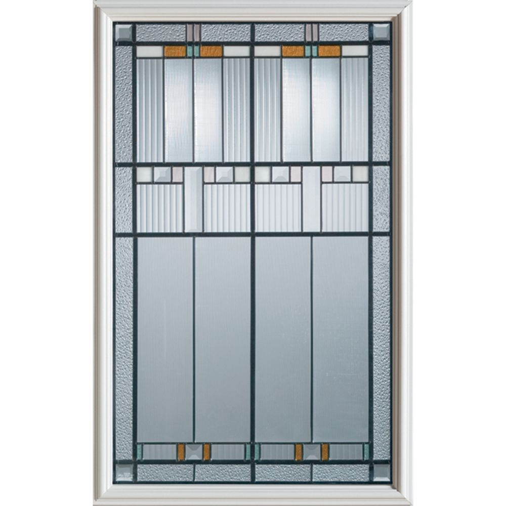 Stanley Doors 23 inch x 37 inch Chicago Patina Caming 1/2 Lite Decorative Glass Insert - ENERGY STAR®