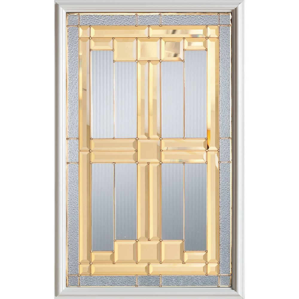 Stanley Doors 23 inch x 37 inch Architectural Brass Caming 1/2 Lite Decorative Glass Insert