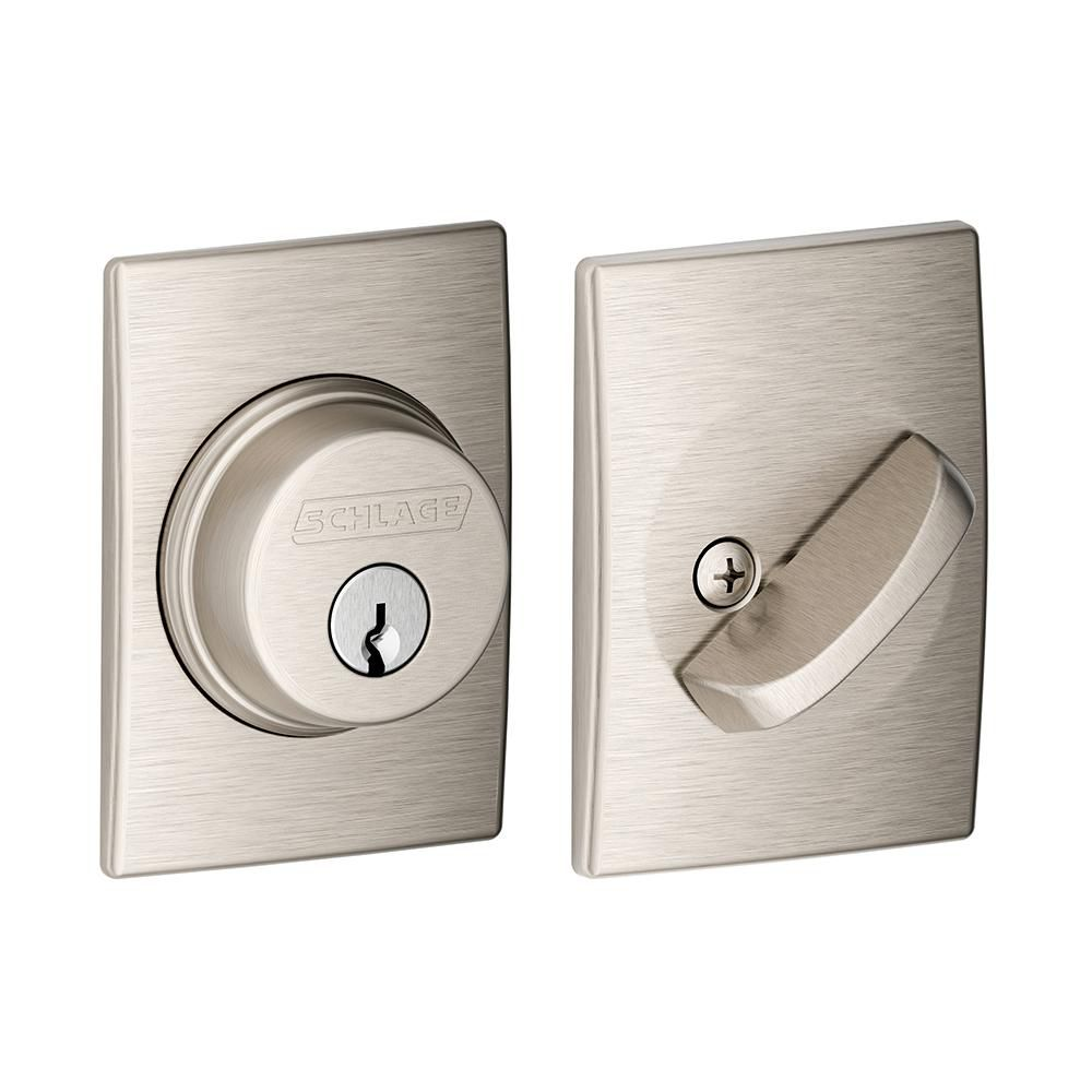 Century Decorative Rose Satin Nickel Deadbolt