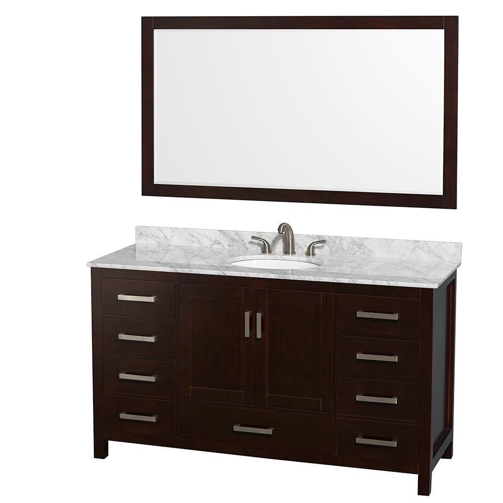 Wyndham Collection Sheffield 60-inch 7-Drawer 2-Door Freestanding Vanity in Brown With Marble Top in White With Mirror