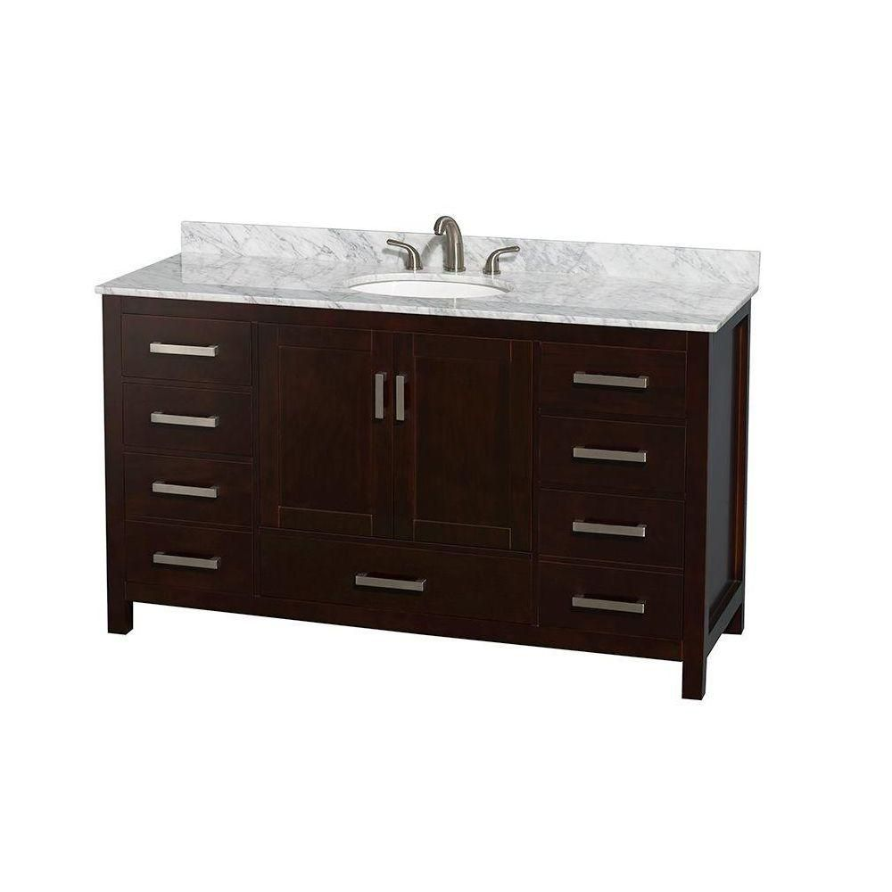 Sheffield 60-inch W Vanity in Espresso Finish with Marble Top in Carrara White