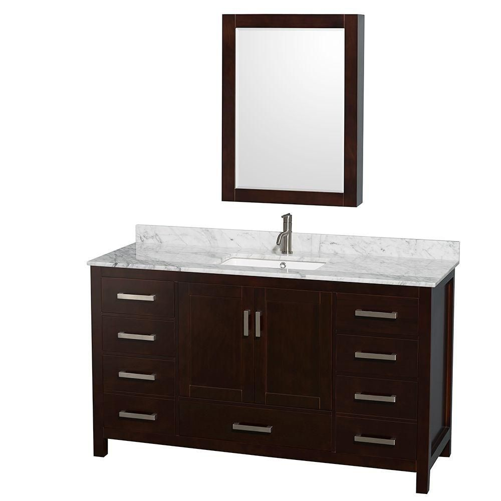 Sheffield 60-inch W Vanity in Espresso Finish with Marble Top and Medicine Cabinet