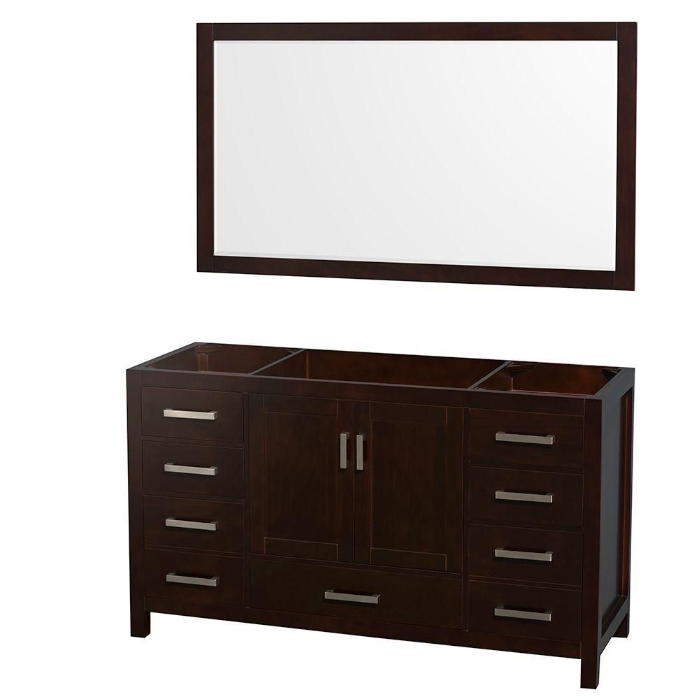 Sheffield 59-Inch  Vanity Cabinet with 58-Inch  Mirror in Espresso