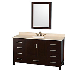 Wyndham Collection Sheffield 60-inch W 7-Drawer 2-Door Vanity in Brown With Marble Top in Beige Tan With Mirror