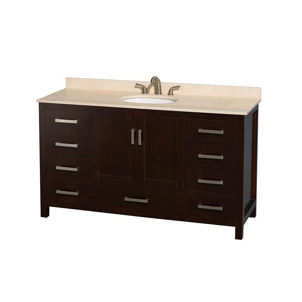 Sheffield 60-inch W Vanity in Espresso Finish with Marble Top in Ivory
