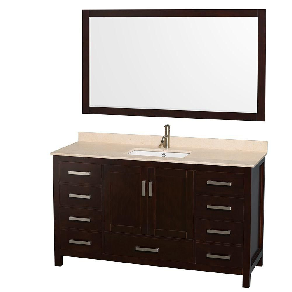 Sheffield 60-inch W Vanity in Espresso Finish with Marble Top in Ivory and 58-inch Mirror