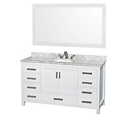 Sheffield 60-inch 7-Drawer 2-Door Freestanding Vanity in White With Marble Top in White With Mirror