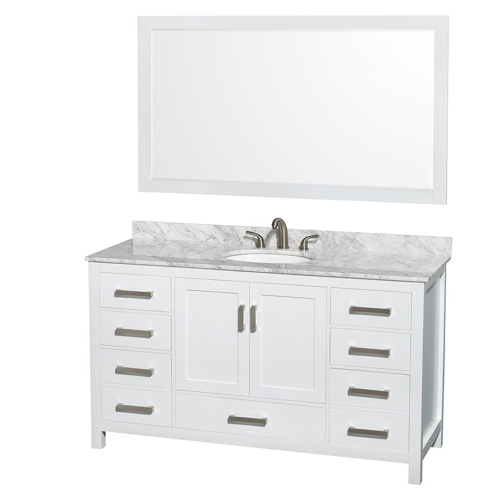 Sheffield 60-inch W Vanity in White Finish with Marble Top in Carrara White and Mirror