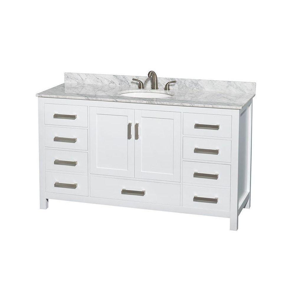 Sheffield 60 po Meuble blanc avec revêtement en marbre blanc Carrare