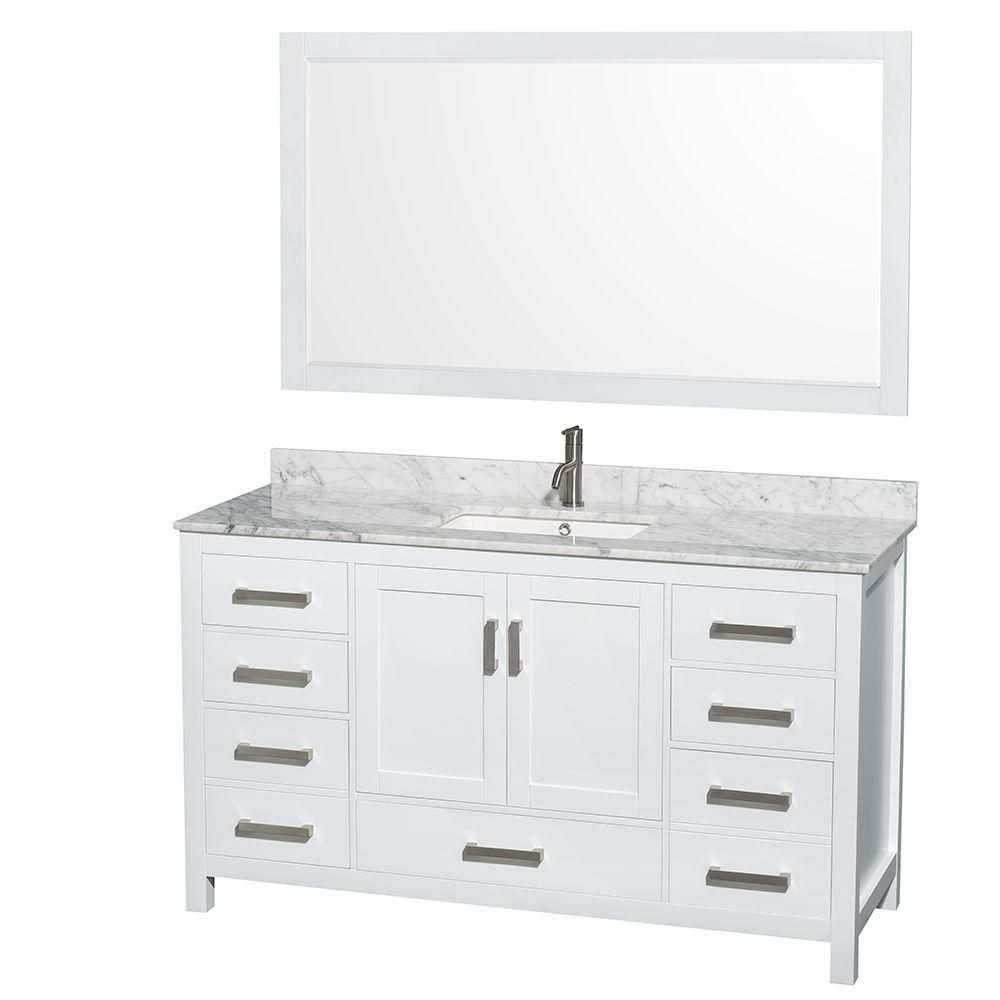 Sheffield 60-inch W Vanity in White Finish with Marble Top in Carrara White and 58-inch Mirror