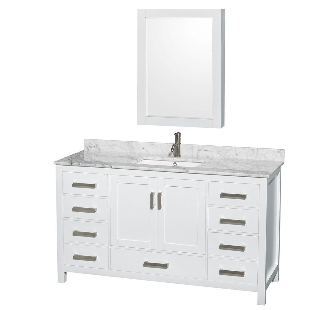 Wyndham Collection Sheffield 60-inch 7-Drawer 2-Door Freestanding Vanity in White With Marble Top in White With Mirror